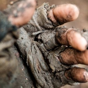Gloves in mud
